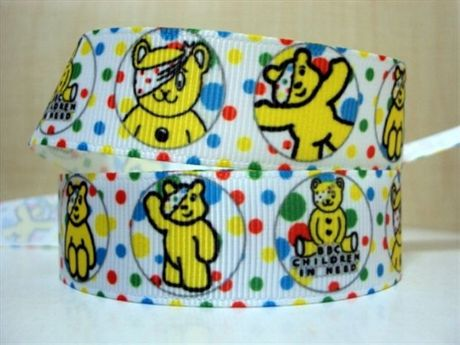 1 METRE CIRCLES PUDSEY BEAR CHILDREN IN NEED RIBBON 7/8 BOWS HEADBANDS BABY HAIR CLIPS